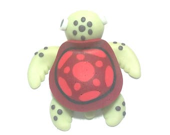 New Fimo Polymer Clay  Red Turtle Figurine Refrigerator Magnet