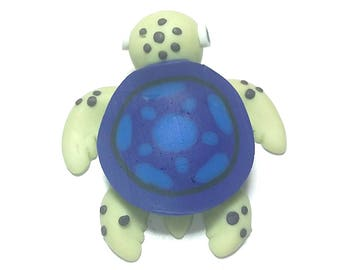 New Fimo Polymer Clay Dark Blue Turtle Figurine Refrigerator Magnet