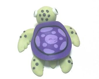 New Fimo Polymer Clay Purple Turtle Figurine Refrigerator Magnet