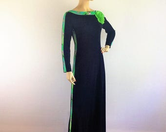Vintage 70s signed LEONARD PARIS maxi dress - 1970s French designer black psychedelic accent silk jersey floor length dress - Medium