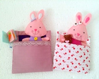 Bunny Toy Soft Doll for pretend play, Stuffed Bunny Gift for Girl, Rabbit Toy for 8 Years Old Girl