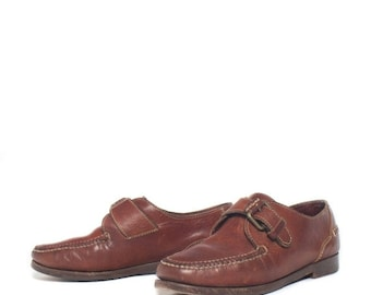 SALE 7.5 M | Women's Brown Leather Cole Haan Country Monk Strap Loafers