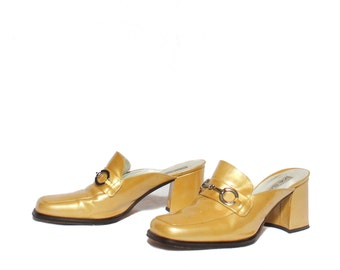 8 B | 1990's Vintage Yellow Patent Leather Penny Loafer Mules with Chunky Heels