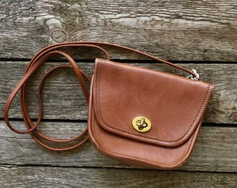 Vintage Mini COACH Leatherware Brown Leather Shoulder Bag
