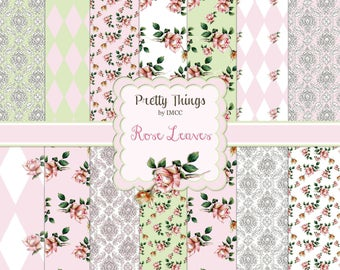 """Shabby Pink Chic Roses Digital Download Paper Pack Rose Buds Damask Green 12"""" x 12"""" Background SEAMLESS Patterns Scrapbooking Clipart Papers"""