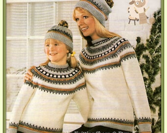 PDF Knitting pattern for Icelandic/Nordic/Fair Isle Sweater & Hat - Instant Download