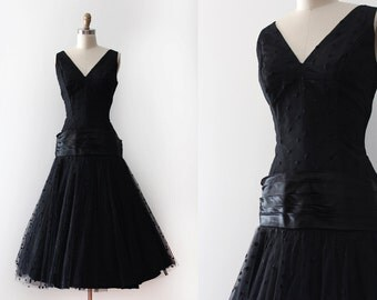 vintage 1950s Emma Domb dress // 50s black bombshell evening dress