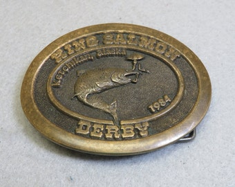 1984 King Salmon Fishing Derby Buckle, Cast Bronze, Ketchikan, Alaska