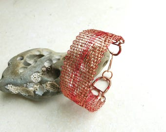 Woven Copper Bracelet, Red and Copper Handwoven Cuff, Textile Techniques in Metal, Boho Bangle
