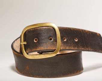 Vintage Aged Leather Snap Belt - Brass Buckle - Made   Handmade in USA