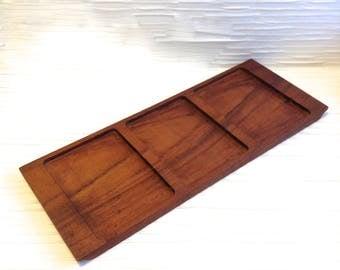 Denmark Teak Wood 3 Section Serving Tray. Made in Denmark.  Vintage Mid Century, Scandinavian Modern. Vintage 1960