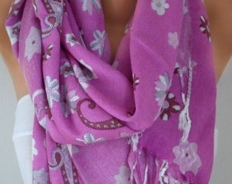 ON SALE --- Pink Paisley Scarf Fall Winter Accessories Oversize Shawl Cowl Scarf Bridesmaid Gift Gift Ideas For Her Women Fashion Accessorie
