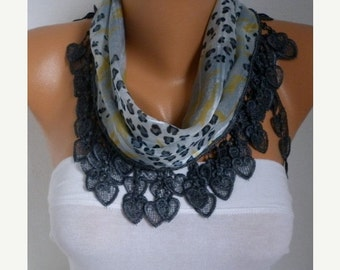 ON SALE --- Gray Heart Cotton Scarf, Summer Shawl,Bridal Scarf,Bridesmaid Gift,Cowl,Gift Ideas For Her Women Fashion Accessories best sellin
