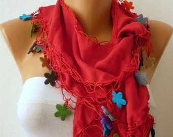 ON SALE --- Red Pashmina Scarf Felt Floral Scarf,Bohemian,Christmas Gift, Women Fashion Accessories Gift