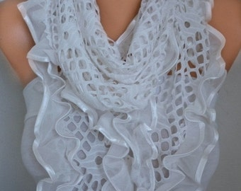 ON SALE --- Off White Filet Scarf Shawl Cowl Scarf Bridal Accessories Bridesmaid Gift Gift Ideas For Her Women's Fashion Accessories Women S