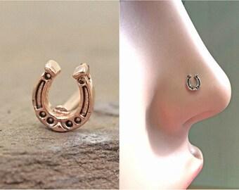 Horseshoe 14kt Rose Gold Nose Stud Rose Gold Nose Ring