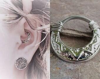 Tribal Daith Piercing Rook Earring Hoop Silver Clicker