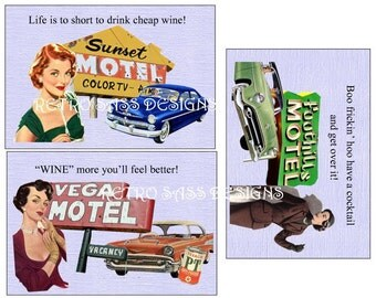 NEW rEtRo road trip inspired SASSY postcards- notecards-journaling cards- 50's style  4x6 set of THREE digital delivery