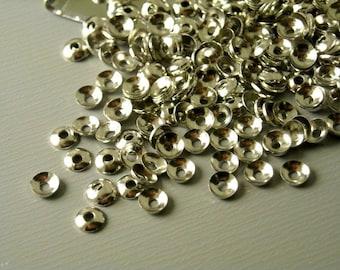 BEADCAP-P-3MM - Mini Bead Caps, Dark Silver - 50 pcs