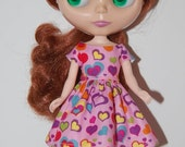 New Years Sale I love Hearts -  Party  Dress for Blythe -  A4B028