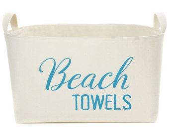 Beach Towels XL Canvas Storage Basket, Hand printed Caribbean Blue