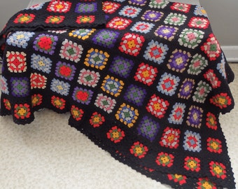 Vintage Hand Crochet Granny Square Afghan quilt Throw Cottage chic