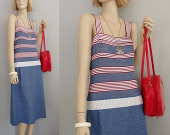 Retro Sixties Peek a Boo Cut-out blue colorblock red & white stripe Sleeveless vintage 60s SunDress M-L