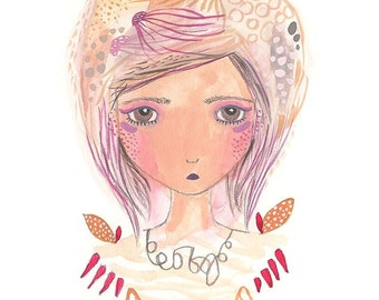 Cancer Print of Original Illustration Art Star Sign Zodiac Astrology Gift Girl illustration Whimsical Gouache Painting by Coramantic