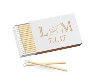 Sweet Vintage Wedding Match Boxes - Metallic Rose Gold Foil, Gold Foil, Silver Foil - Monogram Wedding Matchbooks