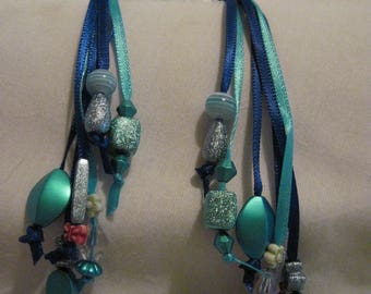 Hair Clips with Ribbons and Beads....set of 2....hand made...clear /Blues