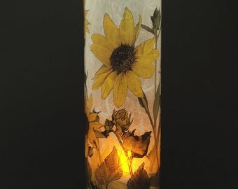Sunflowers candle cover.  1 large size with a free Electric Tea Light.  Battery operated lights.  Bathroom lighting.  Battery candle.  LED.