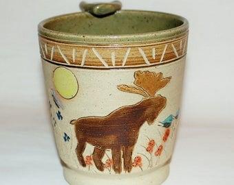 Handmade Pottery Mug / Moose and Spring Robin