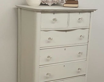 Antique Tall Dresser Miss Mustard Seed milk paint farmhouse white SOLD