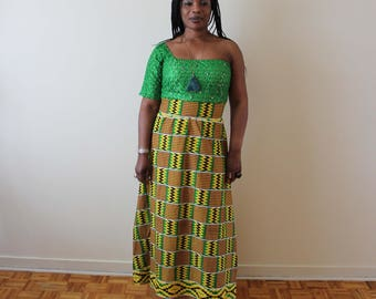African Dress Print One Handed  Mini Maxi Kente Design