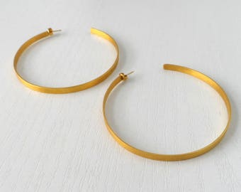 Thic Gold Hoop Earrings, Brass Earrings, Gold Plated Hoop Earrings,Silver, Geometric Earrings,Oversized Open Hoop Earrings