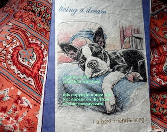 living a dream  /boston terrier / love my boston terrier/ storybook /personalize/ sentimental /unique empathy condolence cards