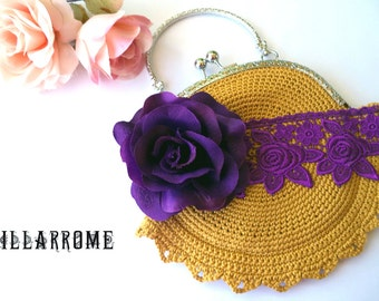 Purple romantic frame purse, shabby chic bag, wedding, bridal, party, purple lace, mustard cotton, purple rose, fabric, handmade, crochet