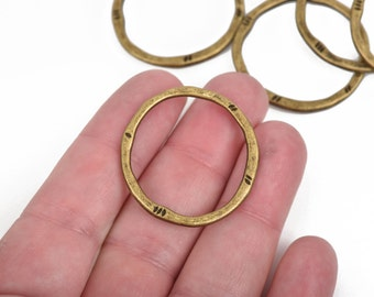 5 Bronze Hammered Rings, Circle Washer Connector Links, Hammered Metal Charms, 32mm, chb0523