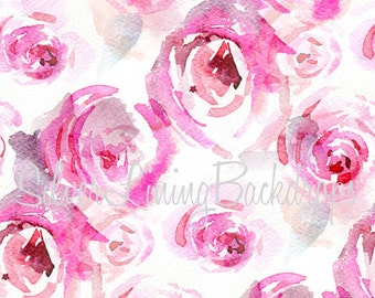 NEW BACKDROP 7ft x 7ft  Vinyl Photography Backdrop / Priscilla Roses / Watercolor look
