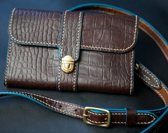 Horween crossbody purse, compact purse, horween croc print, chromexcel, wallet, jacobson leather