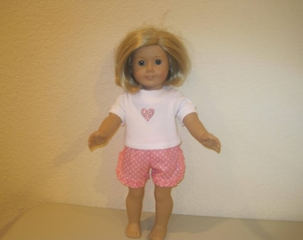 "18"" doll shorts and tee shirt to fit American Girl Dolls"