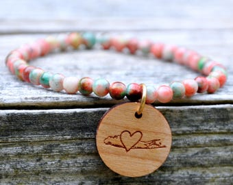 Pink/Green Splash Beaded Long Island Love Bracelet
