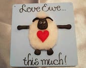 Wedding Engagement Anniversary Gift - Sheep with Heart - Love Ewe This Much Wooden Sign - Wooden Love You Greetings Card - Sheep Love You