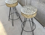 RESERVED Pair of Mid Century Bar Stools in the Style of Frederick Weinberg Mint Condition