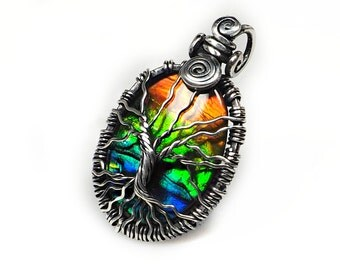 Ammolite pendant, tree of life design handcrafted jewelry, 925 sterling silver Ammolite