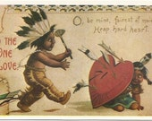 Indian Warrior and after a Maiden's heart Vintage reproduction Valentine's Day Vintage Postcard