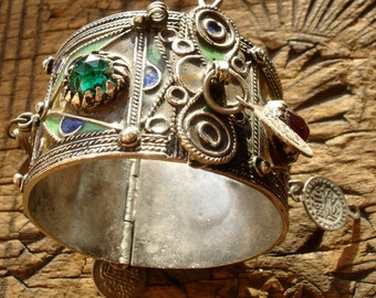 Moroccan  tarnished enamel bracelet cuff with jewels and coin dangles