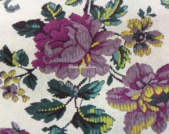 SALE - Classy roses and vines, fuchsia purple, 1/2 yard, pure cotton fabric