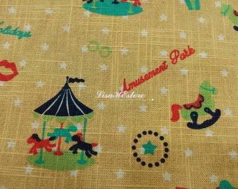 Amusement park, beige, 1/2 yard, pure cotton fabric