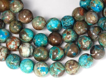 Ocean Agate 8mm Mottled Turquoise and Rusty Brown round -15.5 inch strand
